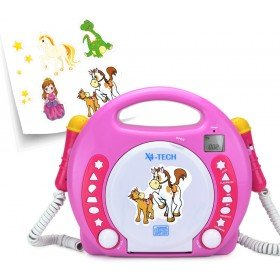 X4-Tech Bobby Joey CD/SD/USB Pink Portable CD Player Rose