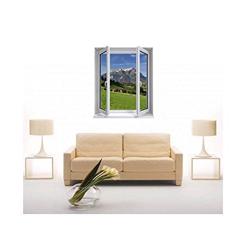 TATOUTEX Sticker, Trompe Auge Fenster Die Berge, L 100cm x H 120cm