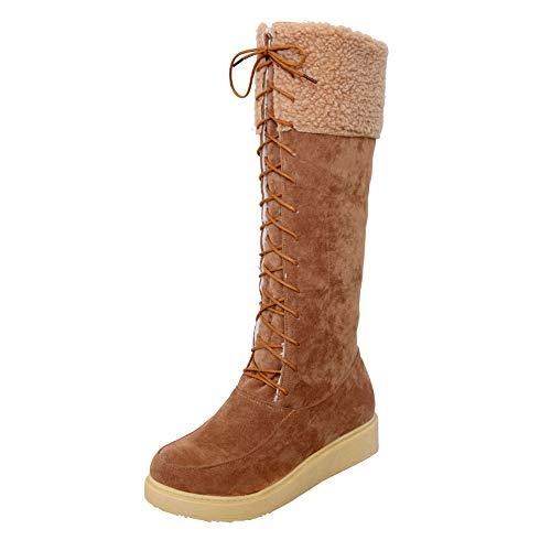 Download Femmes Bottes De Neige pour en Daim à Bout Rond Chaussures Plates à Lacets Imperméables Chaudes Doublées De Fourrure