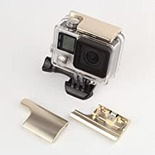 Revesun impermeable Vivienda hebilla Lock Aluminio Reemplazo trasero Snap Latch para GoPro Hero 3+, Hero 3Plus, Hero 4Cámara (rojo), color dorado