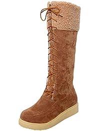 LILICAT❋ Botas de Nieve con Cordones de Ante de Cabeza Redonda, Zapatos Planos con Cordones de Gamuza de Gamuza para Mujeres Mantenga cálidas Botas de Nieve de Tubo Medio (marrón, Negro, Beige)