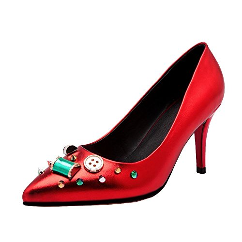 Mee Shoes Damen speziell Glattleder high heels Pumps Rot