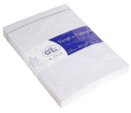 G. Lalo 47200l–Papel Vergé de France (100g, DIN A4, 21x 29,7cm, 50hojas), color blanco, color weiß 22,9 x 16,2 cm gefüttert