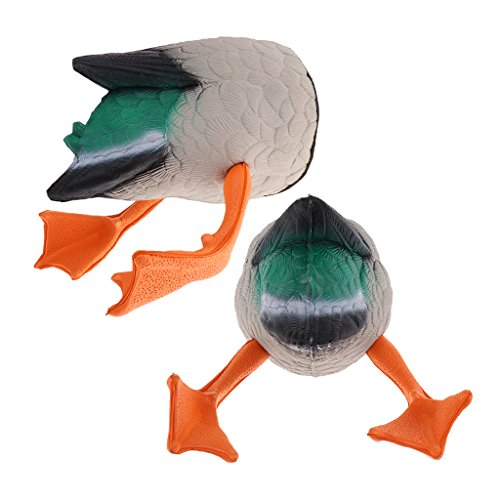perfeclan 2 Stü Black Duck Butt Jagd Decoys Butt Up Drake Decoy Grünhand Getriebe - Grün -