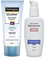 Neutrogena Ultra Sheer Dry Touch Sunblock with Oil-Free Moisture for Combination Skin, White, 88 ml (Pack of 2)