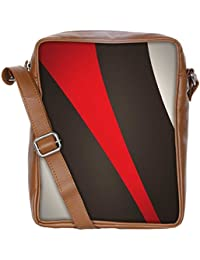 Snoogg Red And Brown Stripes Sling Bags Crossbody Backpack Chest Daypack Travel Bag Book Bag For Men&Women