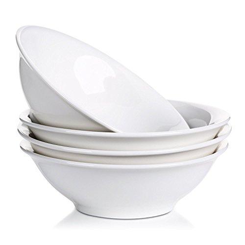 LIFVER 800ml Porcelaine Bols de Céréales, Bols à Soupe, Bols à Salade, Bols de Service, Blanc, Ensemble de 4
