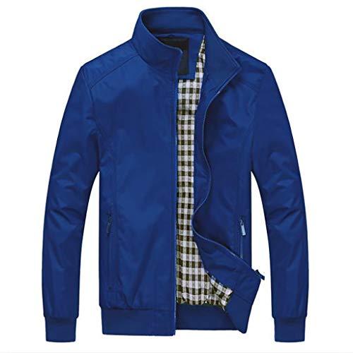 Jacke Männer Übergangsjacke Herren Freizeitjacke Winter Warme Sweatjacke Mantel Outwear Slim Long Trench Zipper Große Größen Coat, Blau Canvas Trench Coat