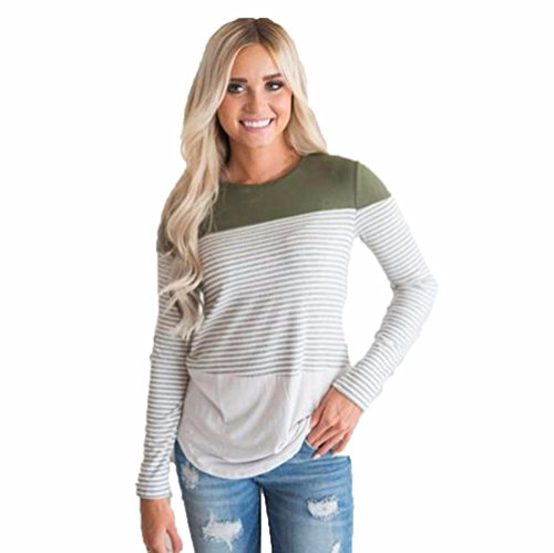 Femmes Casual manches longues à rayures Patchwork Stretchy Tops Blouse T-shirt Vert