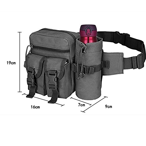 41JV2N PuUL. SS500  - REDGO Tactical Waist Bag with Water Bottle Pouch, Waterproof Bum Bag Military Utility Canvas Fanny Pack Bumbag for Jogging Hiking Walking Bike Cycling Climbing Outdoor