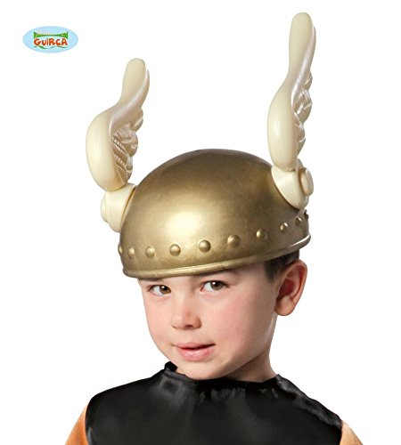 Gallier Helm für Kinder mit Flügeln gold Römer (Asterix Halloween Kostüm)