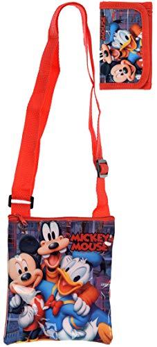 Disney Micky Maus Schultertasche Umhängetasche mit Passendem Geldbeutel