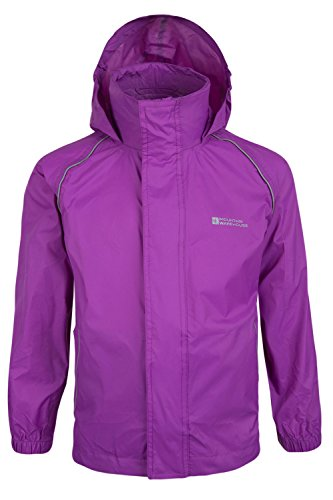 Mountain Warehouse Pakka Kids Waterproof Foldable Jacket Pack Away Rain Coat Purple 13 years