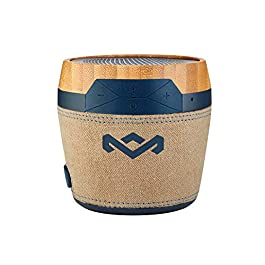 House of Marley Chant Mini BT – Portable Bluetooth Speaker, Splash Resistant, 6hr Play Time Battery Life, Mic Speakerphone, Carabiner Clip, Wireless Connect iPhone, iPad, Samsung and More – Navy