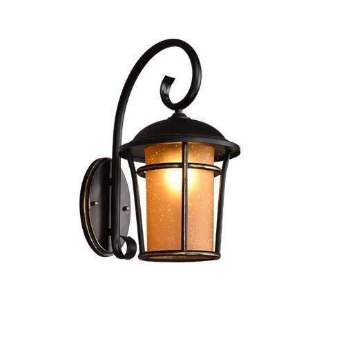 Vintage Wasserdichter IP23 Schwarz Gold Rand Außenwandleuchte Aluminiumguss Blase Glas Lampenschirm Wandleuchte Innen Außen Garten Hof Flur Einfahrt Wandbeleuchtung 28.5 * 20 * 39.5 (Gold Rand Gläser)
