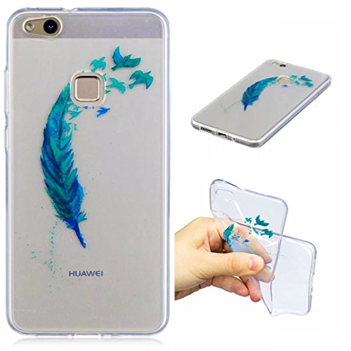 Huawei P10Lite Hülle Silikon transparenter Ultra dünner TPU weicher handy hülle DECHYI Kunstmalerei Serie handyHülle Huawei P10 Lite blaue Feder