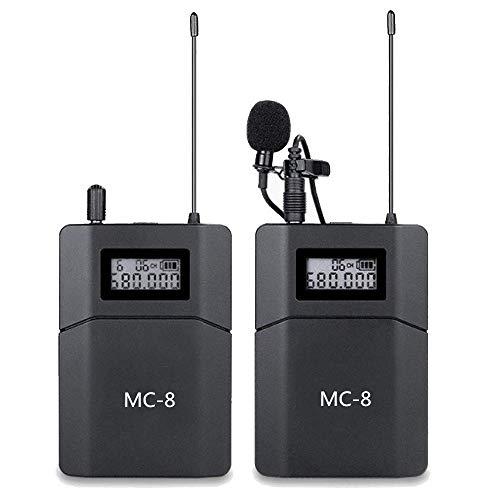 Sistema di Microfoni Wireless a 6 Canali UHF Lavalier compatibile per Fotocamere DSLR Canon, Nikon, Sony e Videocamere Cellulari Utilizzati per le Riprese Video