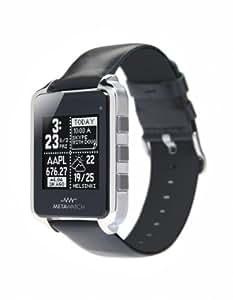 MetaWatch FRAME (noir) Smartwatch - Boîtier en acier inoxydable – Bracelet en cuir – pour iPhone et Android