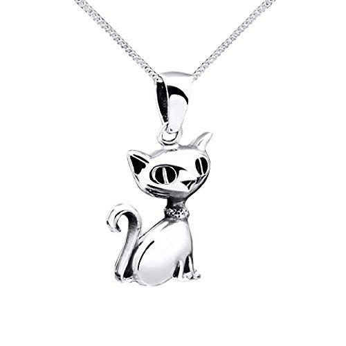 Colgantes de plata gato - joyería colgante gato/Gatito de calidad de plata de ley 925#KA-18