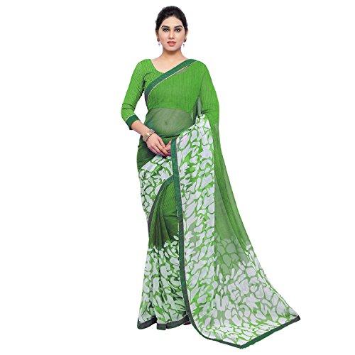 Jaanvi Fashion Women's Chiffon Saree With Blouse Piece (Cherry-Green,Green,Free Size)