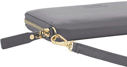 StilGut Smart Wallet in pelle - elegante clutch, portafoglio, custodia per smartphone e borsa a tracolla, Blu Scuro Nappa grigio nappa