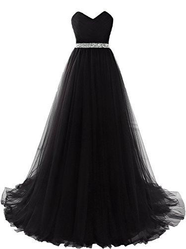 Clearbridal Damen Tüll Bandeau Lang Abendkleid Ballkleid Abschlusskleid Prinzessin SQS16422 Schwarz...