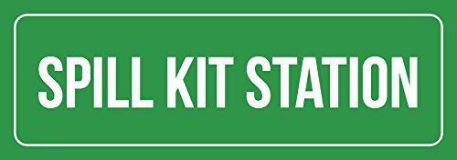 Spill-station Kit (76DinahJordan Grüner Hintergrund mit weißer Schrift Spill Kit Station Schild Indoor Outdoor Metall Schilder Blechschild Warnschild Türschild für Zuhause für Büro 10 x 45 cm)