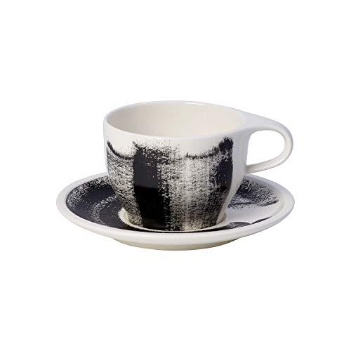 Villeroy & Boch Coffee Passion Awake Café au Lait-Set, 2-teilig, Premium Porzellan, Schwarz/Weiß Au Lait-set