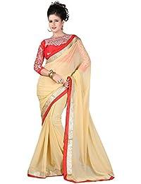 Tread India Chiffon Saree (ZarnaCream(Red33)_Beige_Free Size)