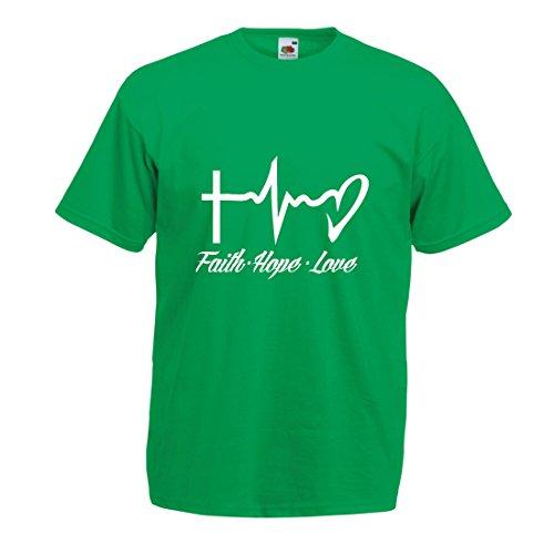 Männer T-Shirt Glaube - Hoffnung - Liebe - 1. Korinther 13:13, christliche Zitate und Sprichwörter, religiöse Sprüche (X-Large Grün Mehrfarben) - Jesus-fisch-shirt