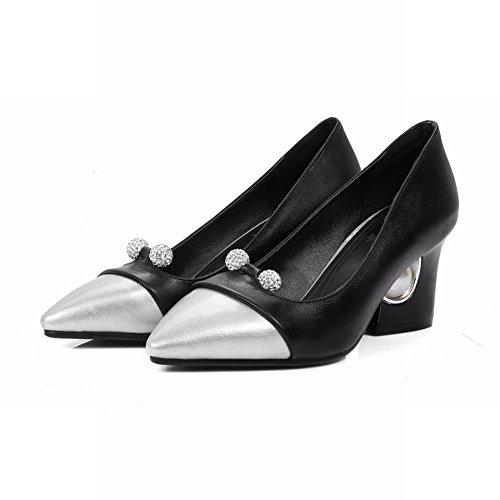 Mee Shoes Damen Blockabsatz Strass mehrfarbig Pumps Schwarz