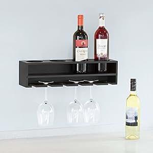 sobuy frg66 l sch porte bouteilles et porte verres set mural pour 4 bouteilles et 6 verres. Black Bedroom Furniture Sets. Home Design Ideas