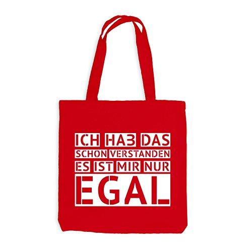 Jutebeutel - Ich hab das schon verstanden - EGAL - Fun Style Design Rot