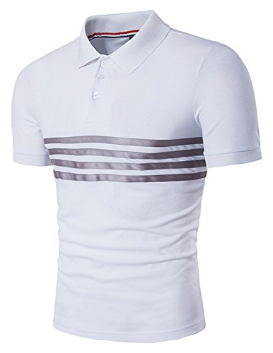 YCHENG Herren Kurzarm Gestreift Poloshirt Stehekragen Sommer Freizeit T-shirt Weiß