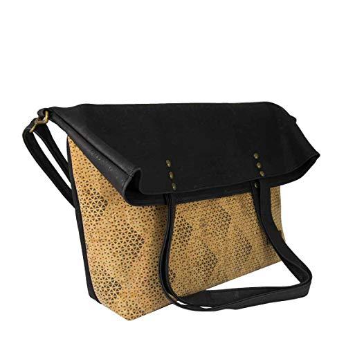 CorkLane Damen Fold over bag Korkleder vegan Falt-Handtasche Tasche Kork schwarz