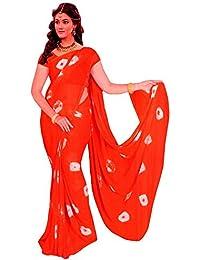 Amyaa Fashion Women's Chiffon Saree (Amyaa4_ Orange_Free Size)