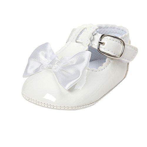 Estamico,Blanc chaussures de bébé Baptême, Chaussure premier pas fille,6-12 Mois