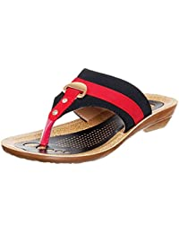 WalkLine Women's Fashion Sandal Jenny2 Black Red