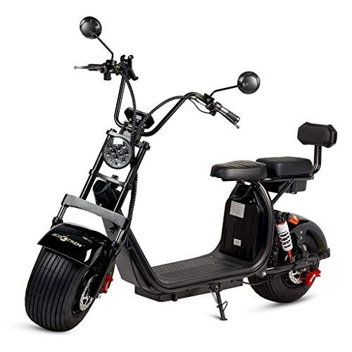 ECOXTREM Moto electrica Scooter 1200w bateria 12Ah 60v Patinete Bici Chopper City Coco Negra