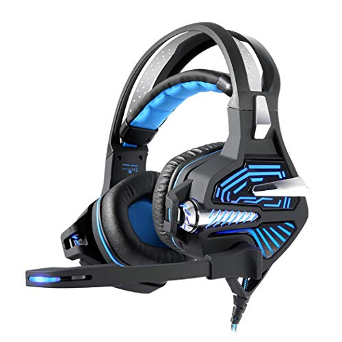 Mzq-yq USB-Licht-Gaming-Headset, 7.1-Kanal-Surround-Sound, Robustes PP-Material für den Kopfbereich +304 Edelstahl gebürstet (Farbe : Black Blue, Design : Ordinary)