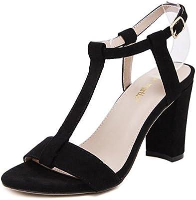 COOLCEPT Zapatos Mujer Moda Punta Abierta Cut Out Correa En T Tacon Ancho alto Sandalias for Fiesta Vestir Travail