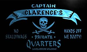 pw094-b Clarence's Captain Private Quarters Skull Bar Beer Neon Light Sign