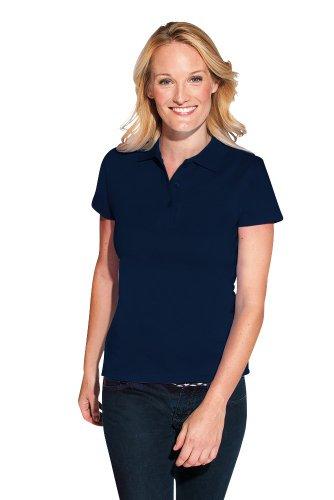 Premium Poloshirt Ton in Ton Damen Navy