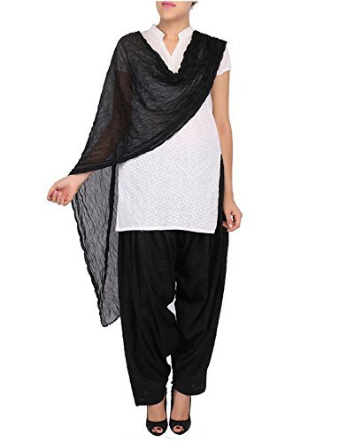 Womens Cottage Women's Black Pure Cotton Jacquard Semi Patiala Salwar & Chiffon Dupatta Stole Set with Lace