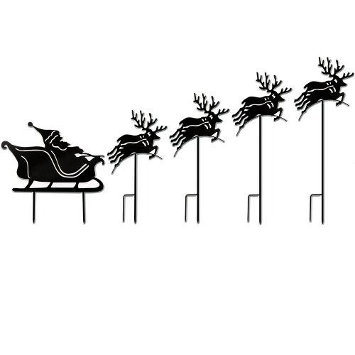 Gartensteckdekoration für Blumenbeete - Weihnachtsmann mit Schlitten und Rentieren