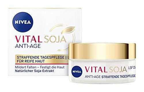 NIVEA  Vital Soja Anti-Age Tagespflege im 1er Pack (1 x 50 ml), Tagescreme mit LSF 15 und Soja-Extrakt, Anti Aging Feuchtigkeitscreme für gemilderte Falten