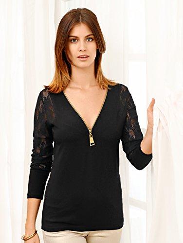 Damen Shirt mit XXL-Reißverschluss by Laura Kent Schwarz/Gold