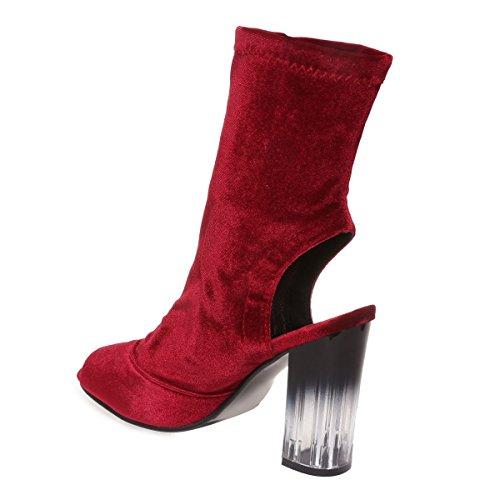 La Modeuse - Bottines peep toes en veloursavec ouverture au talon et au bout Rouge