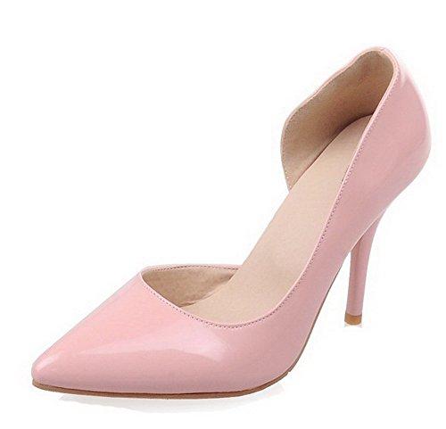 AgooLar Femme Verni Couleur Unie Tire Pointu Stylet Chaussures Légeres Rose