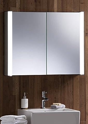 LED beleuchteter Badezimmer Spiegelschrank 65 cm hoch x 80 cm breit x 13 cm tief, mit Rasiersteckdose und Sensor Switch C13 mit Beleuchtung TÜV